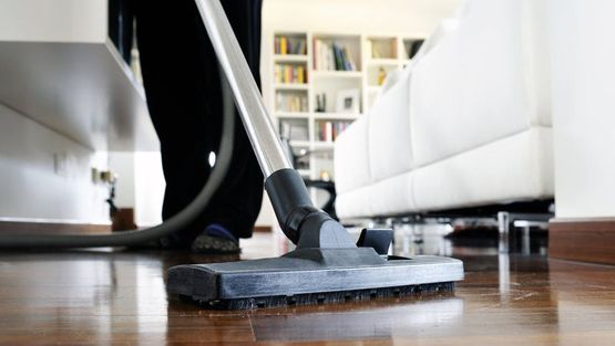 A cleaner vaccuming